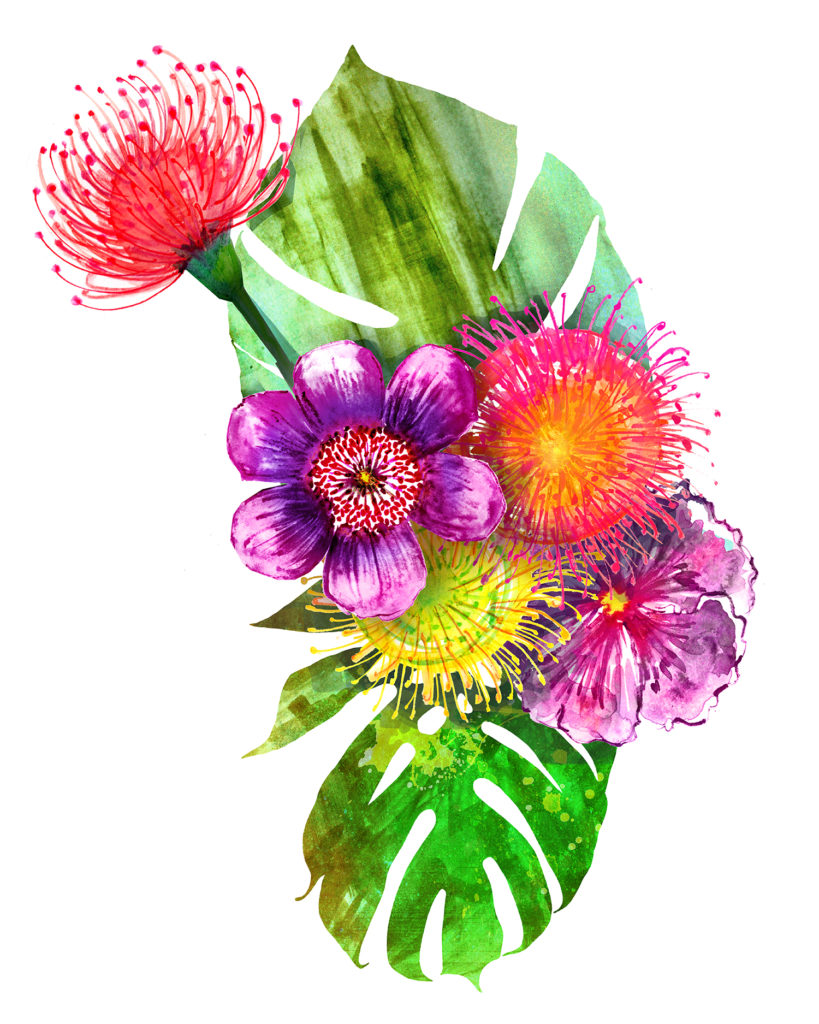Botanical painting in watercolor by Crystal Smith - tropical flowers, tropical bouquet