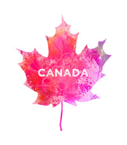 Rather than traditional red, I incorporated pinks, purples and fuchsia into the Canadian Maple Leaf to create a bold design. Crystal Smith graphic design.