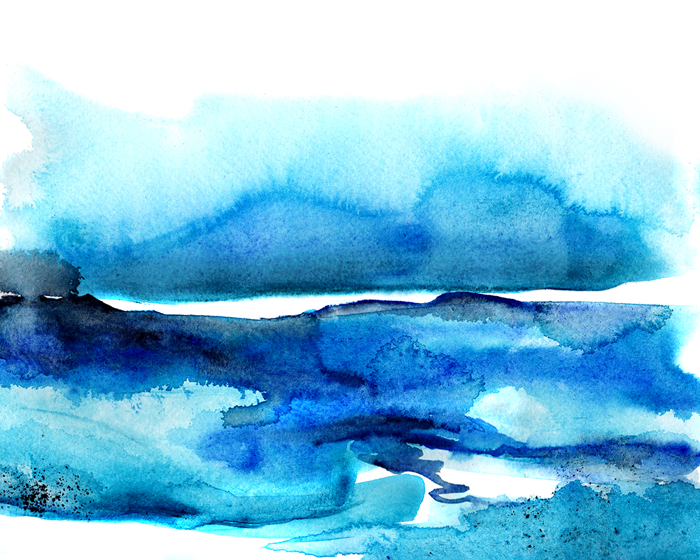 Seascape, watercolor landscape, ocean landscape, ocean painting in watercolor blue by Crystal Smith