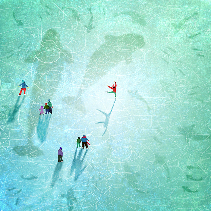 Ice aquarium - whales and fish under ice with skaters on snow and ice - digital painting by Crystal Smith