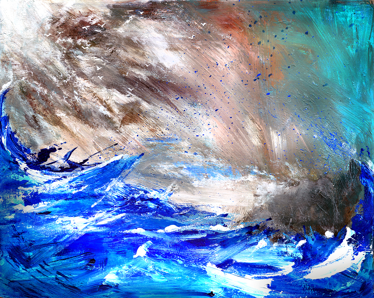 acrylic painting of storm at sea by artist Crystal Smith