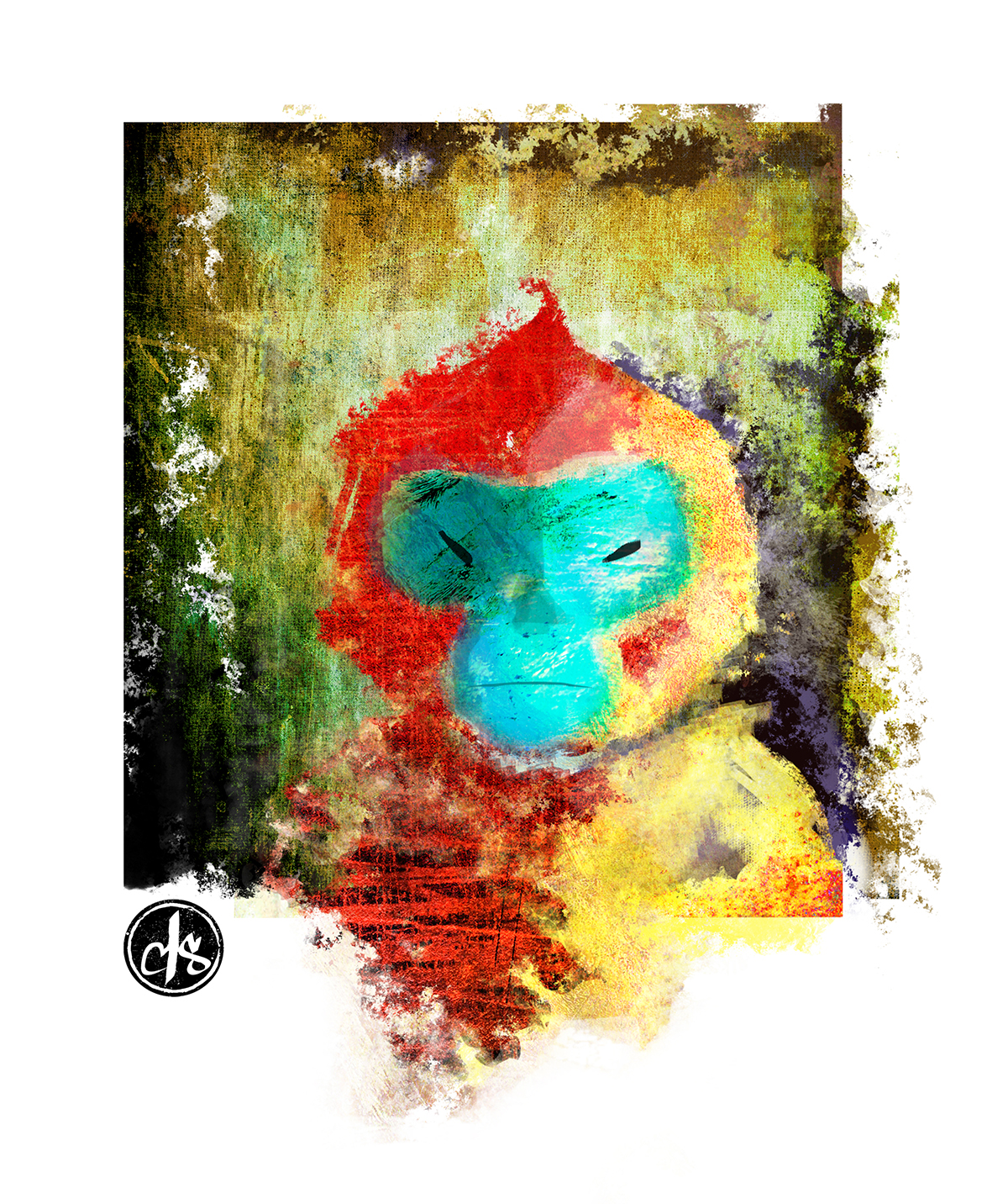 digital painting of blue faced monkey by artist Crystal Smith