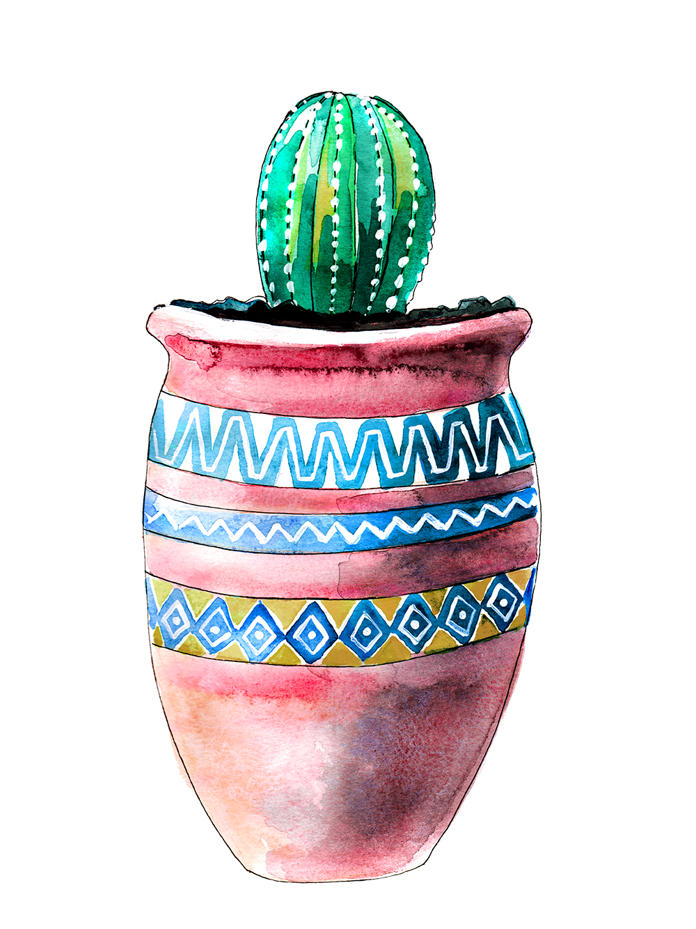 watercolor painting of cacti in mexican pot, artwork and paintings by Crystal Smith in BC Canada