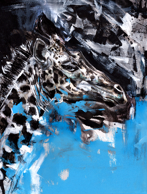charcoal and acrylic giraffe drawing by wildlife artist Crystal Smith