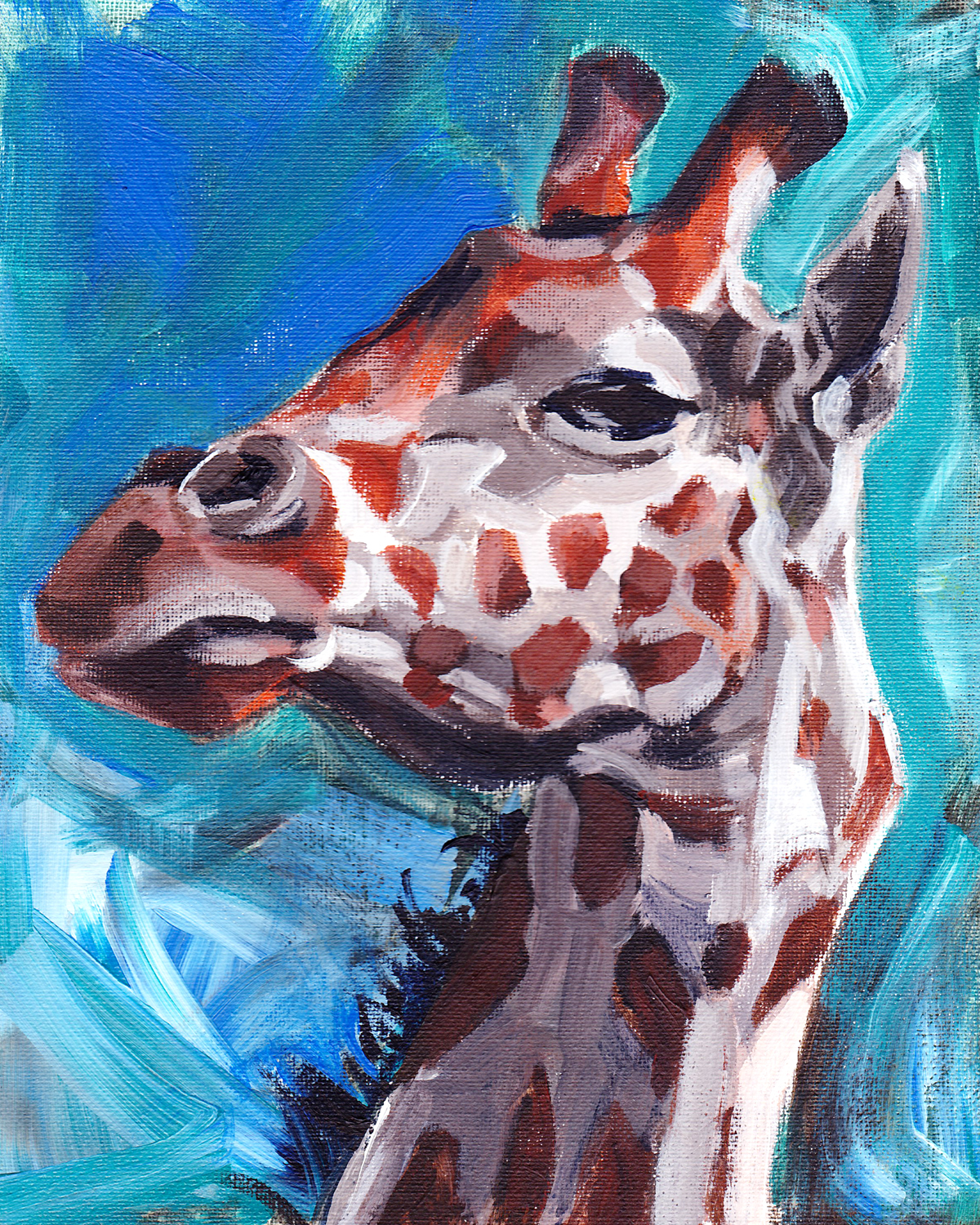 Giraffe painting in oil on canvas, wildlife artist Crystal Smith BC Canada