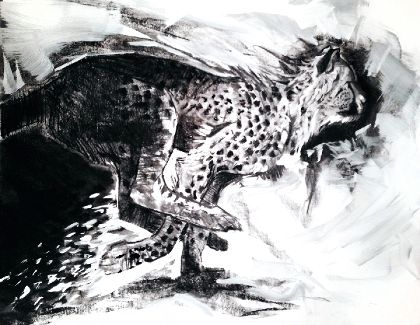 charcoal and acrylic painting of cheetah running by wildlife artist Crystal Smith