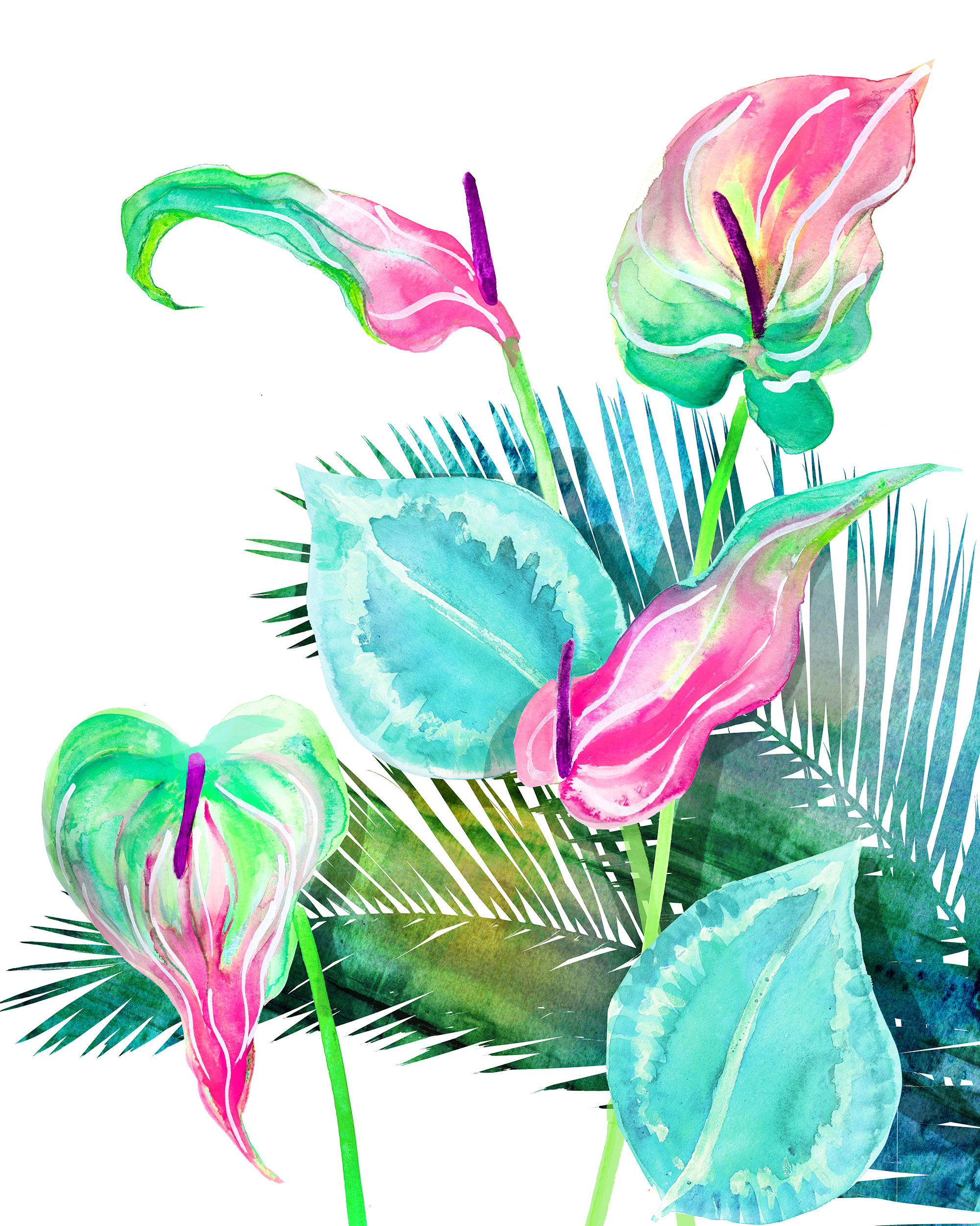 Anthurium painting in acrylic and watercolor, by artist Crystal Smith in BC Canada
