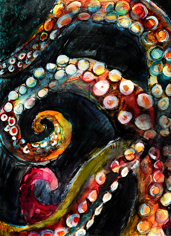 mixed media watercolor, ink, acrylic and charcoal of octopus by wildlife artist Crystal Smith