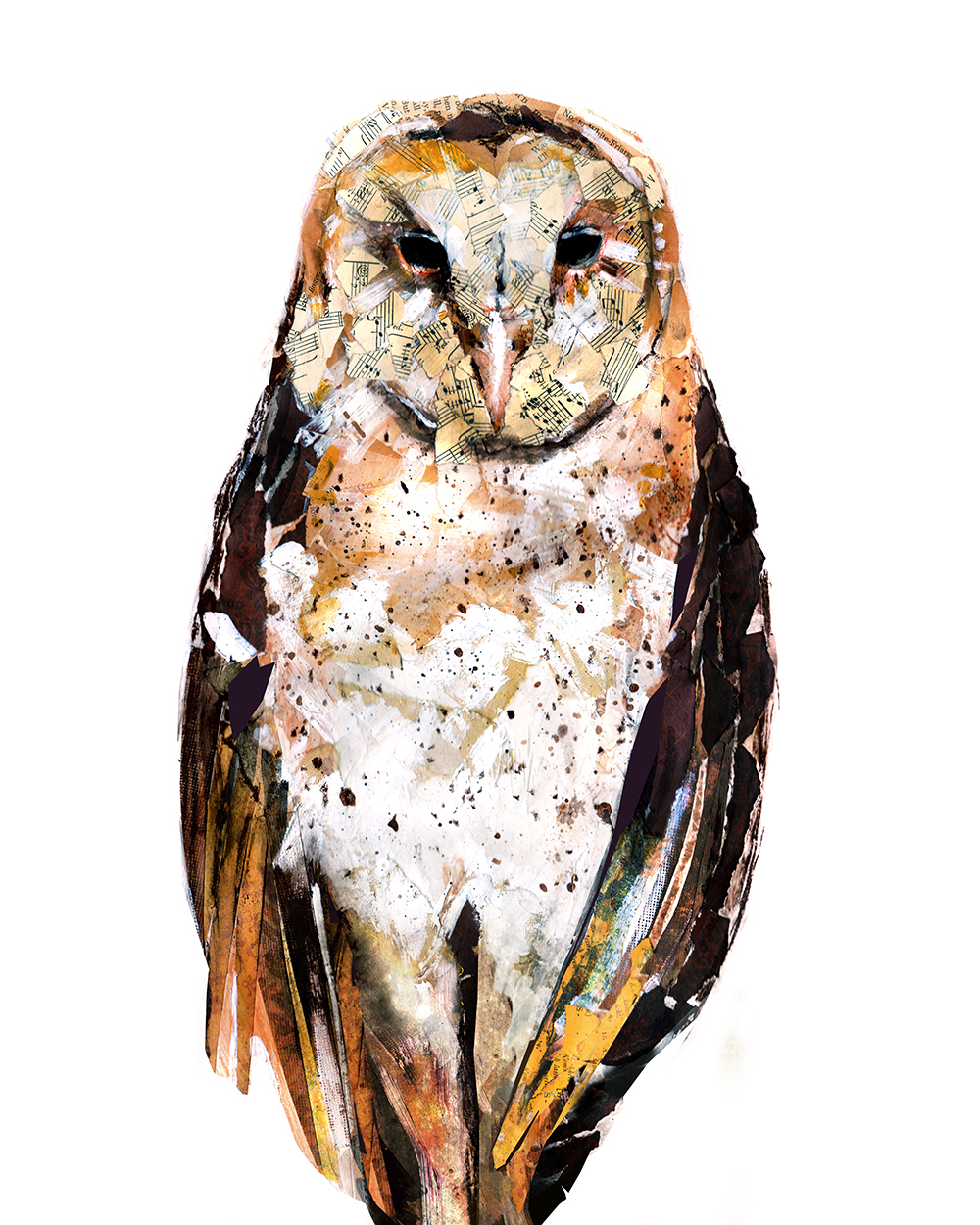 collage and acrylic painting of barn owl by artist Crystal Smith