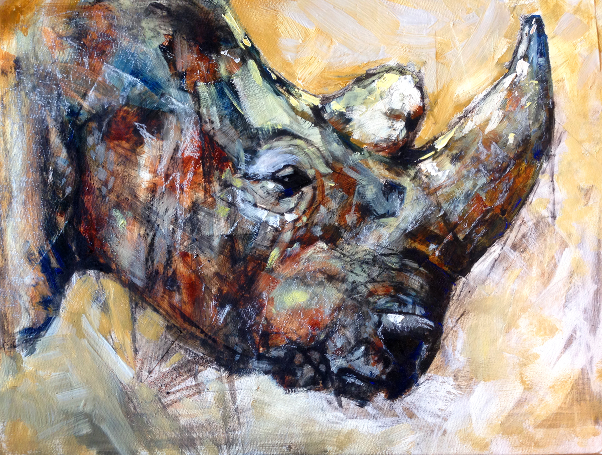 Rhino painting in oil and charcoal, mixed media, wildlife artist by Crystal Smith in BC Canada