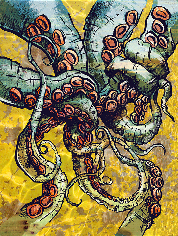 ink graphic drawing of tentacles by artist Crystal Smith