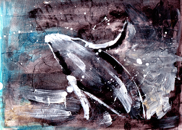 Watercolor & acrylic painting of humpback whale by west coast artist BC Canada Crystal Smith
